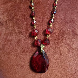 Nina Ricci Avon Bronze Tone Red Bead Necklace